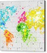 World Map Painting On Brick Wall Acrylic Print