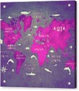 World Map Pink Acrylic Print