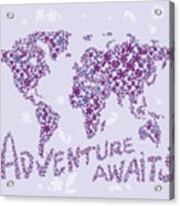 World Map Purple Lavender Floral Pattern Acrylic Print