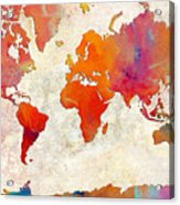 World Map - Rainbow Passion - Abstract - Digital Painting 2 Acrylic Print