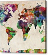 World Map Watercolor Acrylic Print