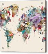 World Map Watercolors Acrylic Print