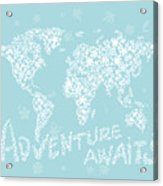 World Map White Flowers Aqua Blue Acrylic Print
