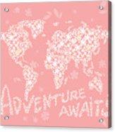 World Map White Flowers Pink Acrylic Print