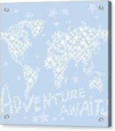 World Map White Star Pastel Blue Acrylic Print