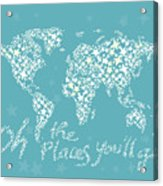 World Map White Star Turquoise Acrylic Print