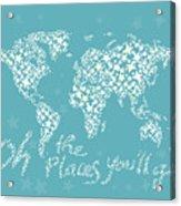 World Map White Star Turquoise Acrylic Print