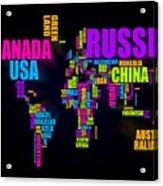 World Text Map 16x20 Acrylic Print