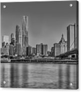 World Trade Center And The Brooklyn Bridge Bw Acrylic Print