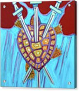World Turtle Three Of Swords Acrylic Print