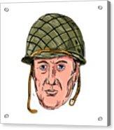 World War Two American Soldier Head Drawing Acrylic Print