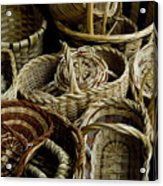 Woven Baskets For Sale At A Market Acrylic Print