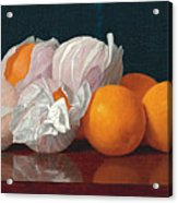 Wrapped Oranges On A Tabletop Acrylic Print