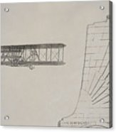 Wright Brothers Memorial Plane Sketch Acrylic Print
