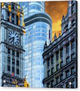 Wrigley Building And Trump Tower Dsc0540 Acrylic Print
