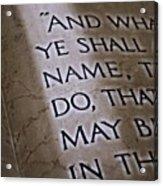 Written In Stone Acrylic Print