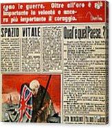 Wwii: Italian Newspaper Acrylic Print