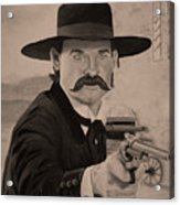 Wyatt Earp - Kurt Russell B And W Acrylic Print