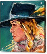 Wyoming Cowgirl Close Acrylic Print