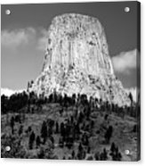 Wyoming Devils Tower National Monument With Climbers Bw Acrylic Print