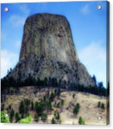 Wyoming Devils Tower With 8 Climbers August 7th 12 36pm 2016 Acrylic Print