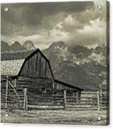 Wyoming Mormon Row Moulton Barn Silver Panorama Acrylic Print