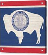 Wyoming Rustic Flag On Wood Acrylic Print