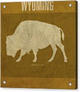 Wyoming State Facts Minimalist Movie Poster Art Acrylic Print