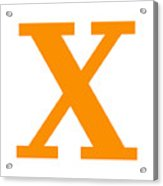 X In Tangerine Typewriter Style Acrylic Print