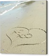 Xoxo - Message Written In The Sand Acrylic Print