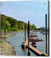 Yacht Harbor On The River. Film Effect Acrylic Print