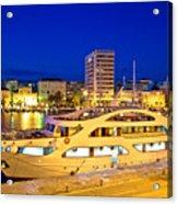 Yacht In Zadar Harbor Evening View Acrylic Print