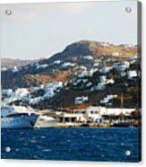 Yachts Docked At Port Skala Greece On Patmos Island Acrylic Print