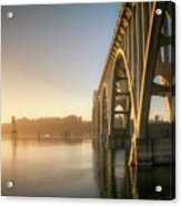 Yaquina Bay Bridge - Golden Light 0634 Acrylic Print