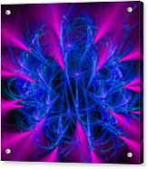 Yarn In Space - Fractal Art Blue And Pink Acrylic Print