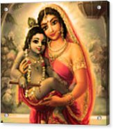Yashoda And  Krishna 4 Acrylic Print by Lila Shravani