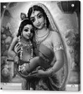 Yashoda And  Krishna Black-white Acrylic Print by Lila Shravani