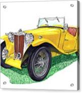 Yellow 1949 M G T C Midget Acrylic Print