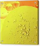 Yellow And Orange Oil Droplet On Water Acrylic Print