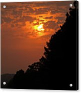 Yellow And Orange Sunset With Tree Silhouette On Bottom And Right Acrylic Print