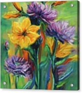 Yellow And Purple Flowers Acrylic Print