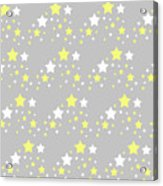 Yellow And White Stars On Grey Gray  Acrylic Print