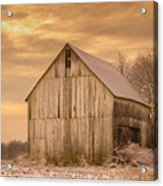 Yellow Barn, Yellow Sunset Acrylic Print