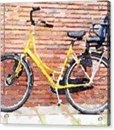 Yellow Bicycle Digital Watercolour Acrylic Print