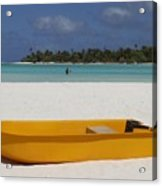 Yellow Boat In South Pacific Acrylic Print