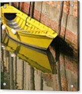 Yellow Boat In Venice Acrylic Print