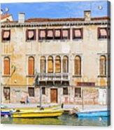 Yellow Boat - Venice Italy Acrylic Print