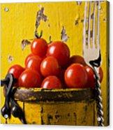 Yellow Bucket With Tomatoes Acrylic Print