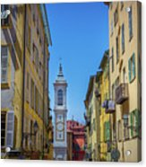 Yellow Buildings And Chapel In Old Town Nice, France - Landscape Acrylic Print