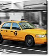 Yellow Cab In Manhattan In A Rainy Day. Acrylic Print